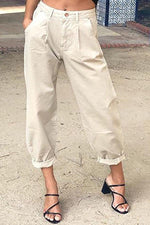 Paneled Solid Buttoned Side Pockets Casual Pants