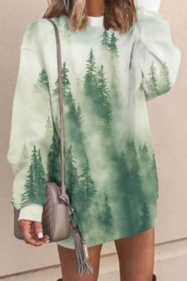 Mixed Color Gradient Mountain Forest Treetop Jacquard Holiday Mini Dress