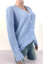 Hollow Out Solid Knitted Ribbed Buttons Down Casual Cardigan
