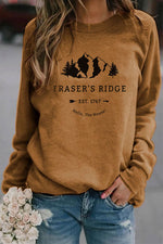 Fraser's Ridge Est 1767 Hello The House Letter Mountain Tree Print Raglan Sleeves Casual T-shirt
