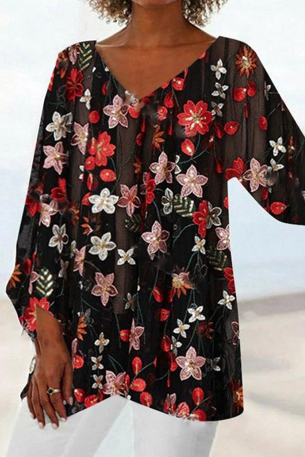 Floral Print V-neck 3/4 Sleeves Cross Front Hem Holiday Blouse