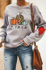 Its Fall Y All Cartoon Pumpkin Leopard Print Casual Sweatshirt