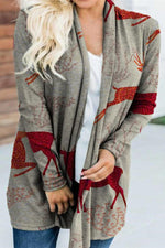 Sika Deer Plant Jacquard Knitted Casual Holiday Cardigan