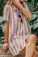 Stripe Print Buttoned Short Sleeves Midi Dress