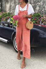 Solid Square Neck Linen Overalls Jumpsuits