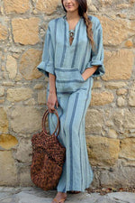 Striped Print Long Sleeves Linen Maxi Dress