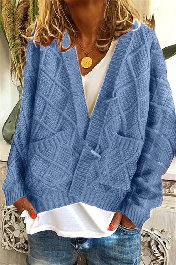 Daytime Solid Knitted Ribbed Spiral Tweed Horn Buckle Cardigan