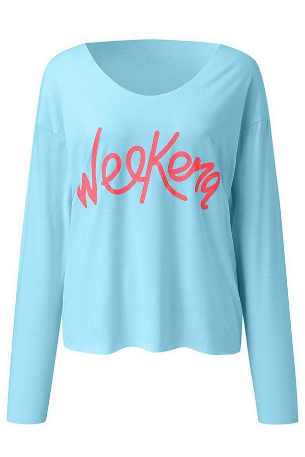 Casual V Neck Letter Printed Long Sleeves Blouses