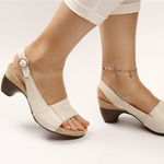 Peep Toe Low Chunky Heel Comfy Sandals
