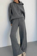 Casual Solid Knitted Ribbed Hoodie With Wide Leg Pants Two-pieces Set