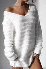 V Neck Loose Long Sleeves Solid Fluffy Sweatshirts