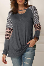 Stripe Leopard Paneled Cutout Casual T-shirts