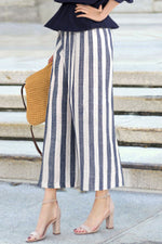 Stripe Print Paneled Elastic Casual Wide Leg Pants