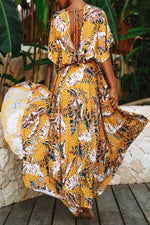 Bohemian Floral Print Backless Holiday Maxi Dress