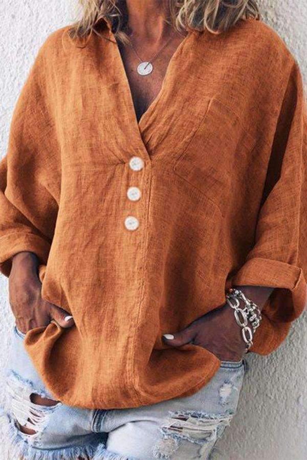 Linen Casual Button Long Sleeve Blouses