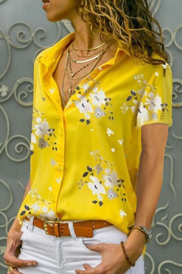 Floral Print Notch Collar Casual Blouse