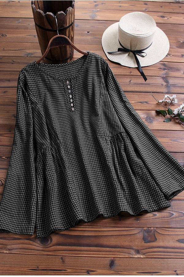 Grid Round Neck Long Sleeve Linen Blouse