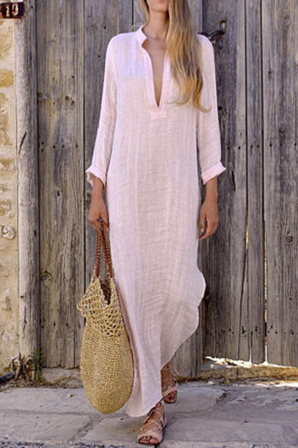 Solid V-neck  Maxi Shift Dress