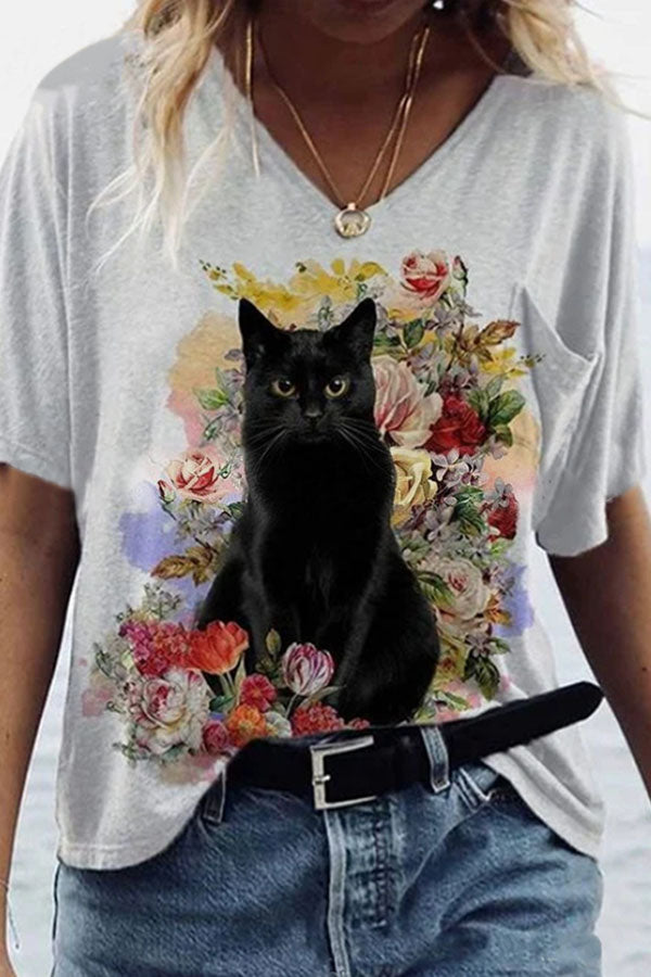 Lady Lovely Black Cat Before Floral Print Pocket Shift T-shirt