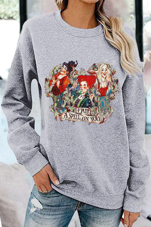 I Put A Spell On You Halloween Women Character Print Sweatshirt