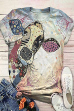 Vintage Cartoon Print Paneled Short Sleeves T-shirt