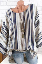 Striped Crew Neck Casual T-shirts