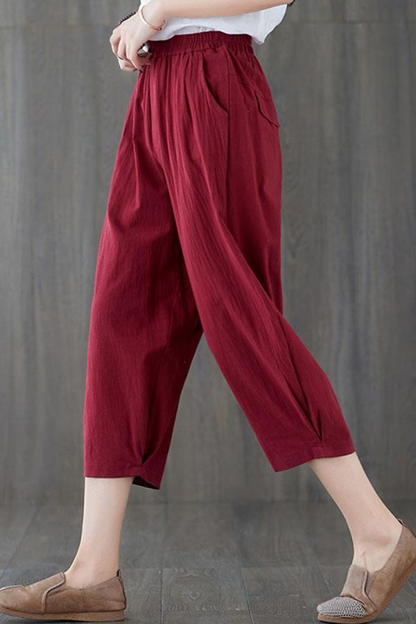 Solid Side Pockets Loose Casual Pants