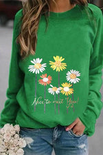 Daisy Letter Print Casual Paneled Long Sleeves Sweatshirt