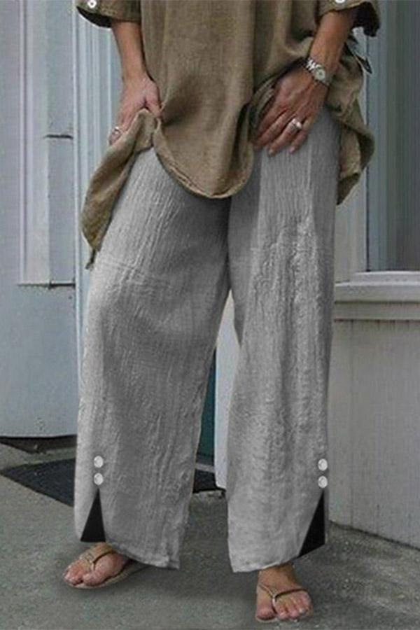 Buttoned Casual Linen Pants
