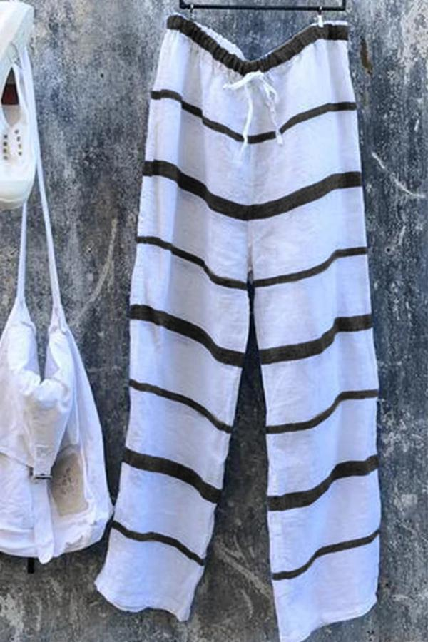 Casual Drawstring Waist Stripe Linen Pants