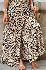 Leopard Casual V Neck Short Sleeves Maxi Dress