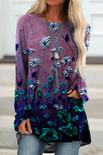 Literary Floral Gradient Print Raglan Sleeves Frill Hem Shift T-shirt
