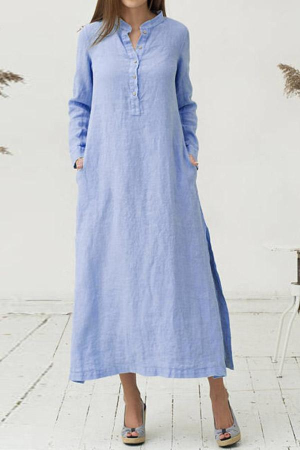 Solid Slit Casual Long Sleeves Linen Maxi Dress