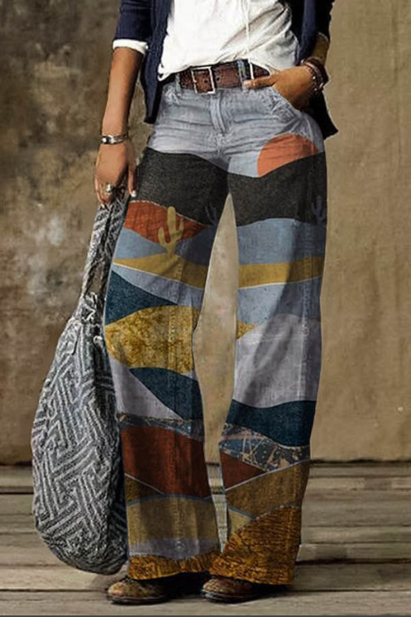 Women Mixed Colors Desert Cactus Print Retro Wide Leg Jeans