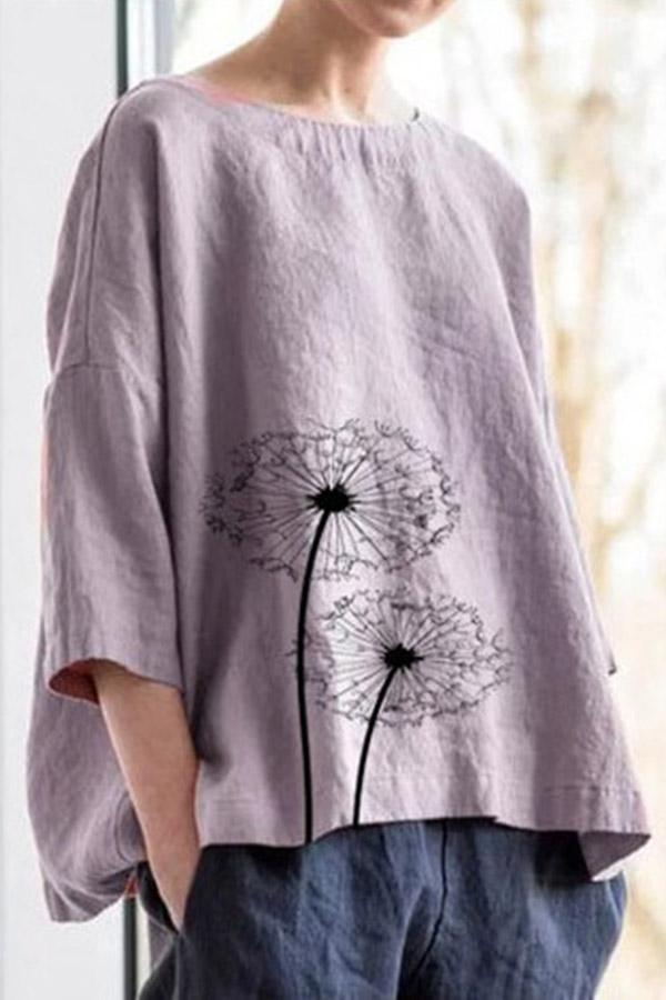 Casual Floral Loose Crew Neck Linen T-shirts
