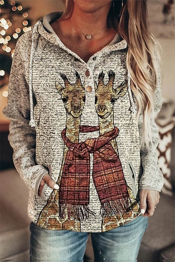 Cartoon Two Giraffe Wearing Same Plaid Scarf Print Gradient Street Hoodie