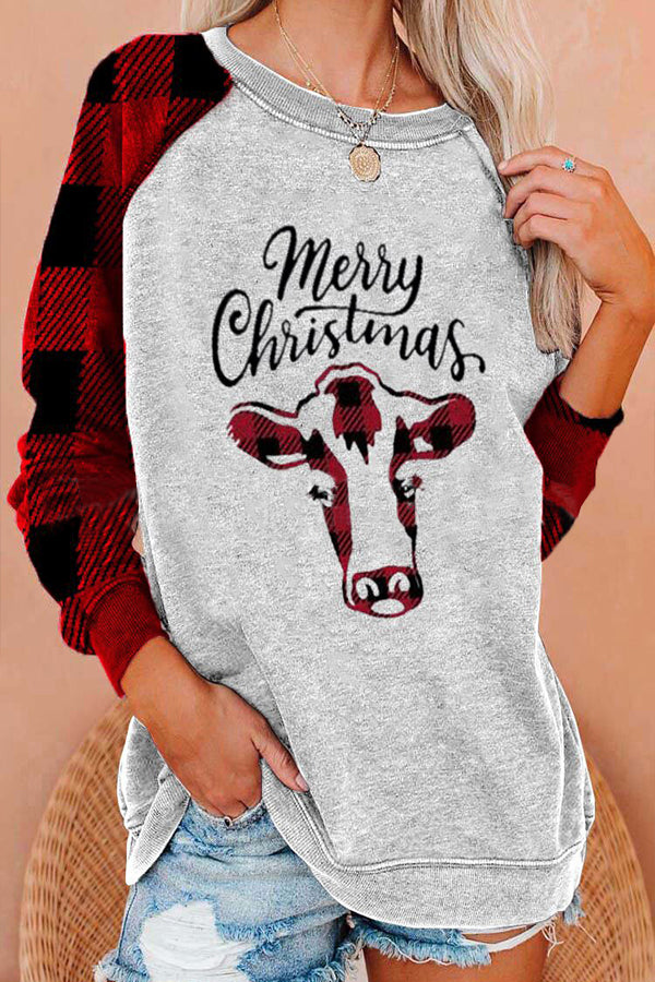 Merry Christmas Letter Cow Plaid Print Raglan Sleeves Color-block Festival T-shirt