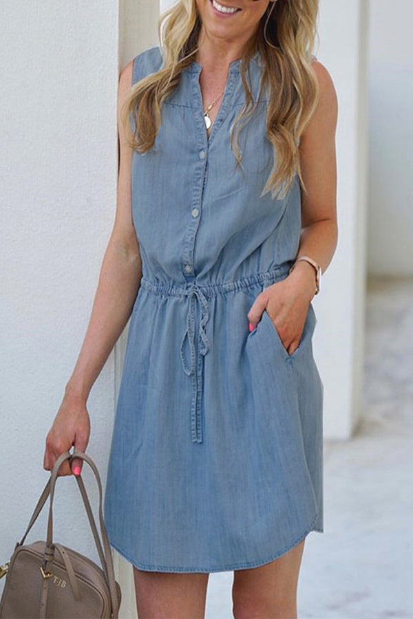 Solid Paneled Buttoned Self-tie Sleeveless Casual Mini Dress