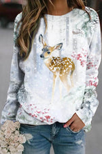 Lovely Lifelike Deer In Forest Covered By Snow Gradient Jacquard Artistic T-shirt