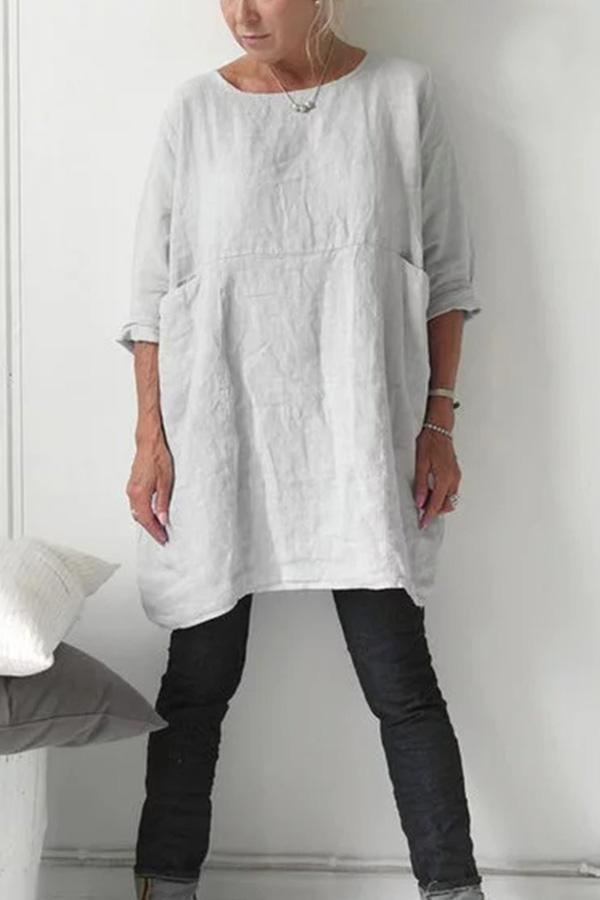 Linen Casual Shift  Solid Midi Dress