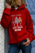 Dear Santa Just Bring Wine Glass Christmas Plaid Tree Print Red Hoodie