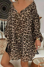 Leopard Casual  V Neck  Long Sleeves Mini Dress