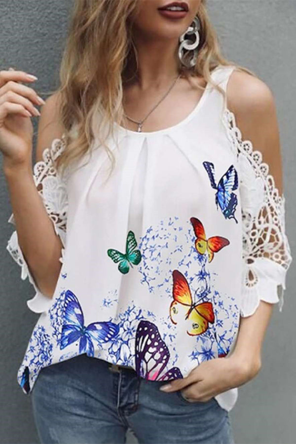 Cold Shoulder Butterfly Print Paneled Lace Elegant Blouse