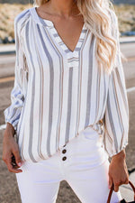 Casual Stripe V Neck  Loose Shirt