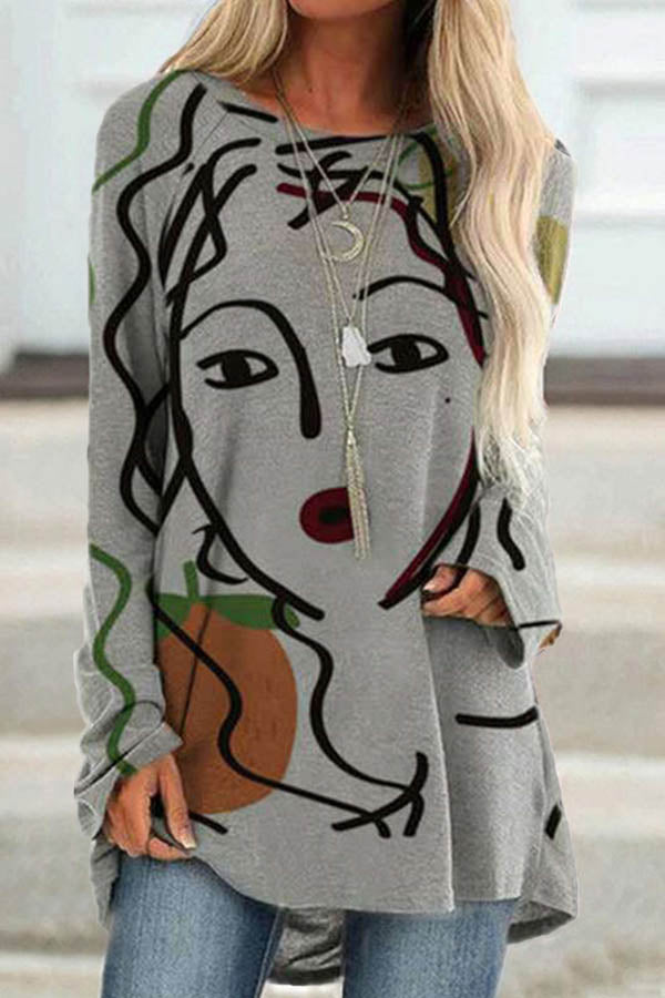 Hand Painting Abstract Women Print Artistic Casual T-shirt