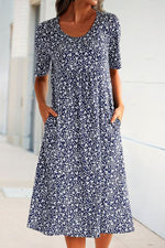 Casual Floral Print Short Sleeves Pockets Midi Dress