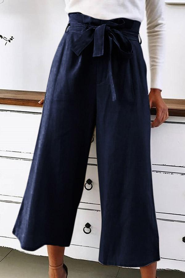 High Waist Self-tie Casual Linen Pants