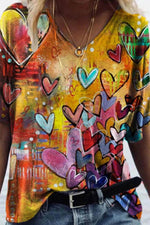 Sweety Colorful Heart Shaped Print Mixed Color Shift T-shirt