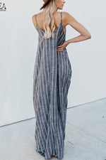Casual Stripe Sleeveless V-neck Cami Jumpsuit