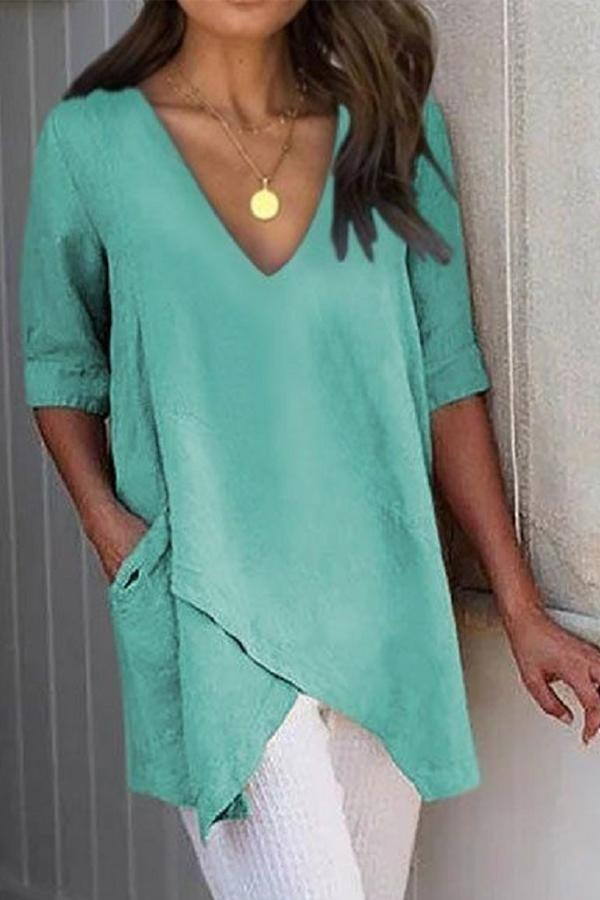 Paneled Solid V-neck Pockets Irregular Hem Blouse